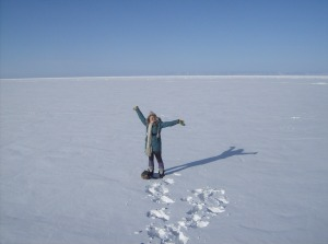 Standing on the world's deepest lake